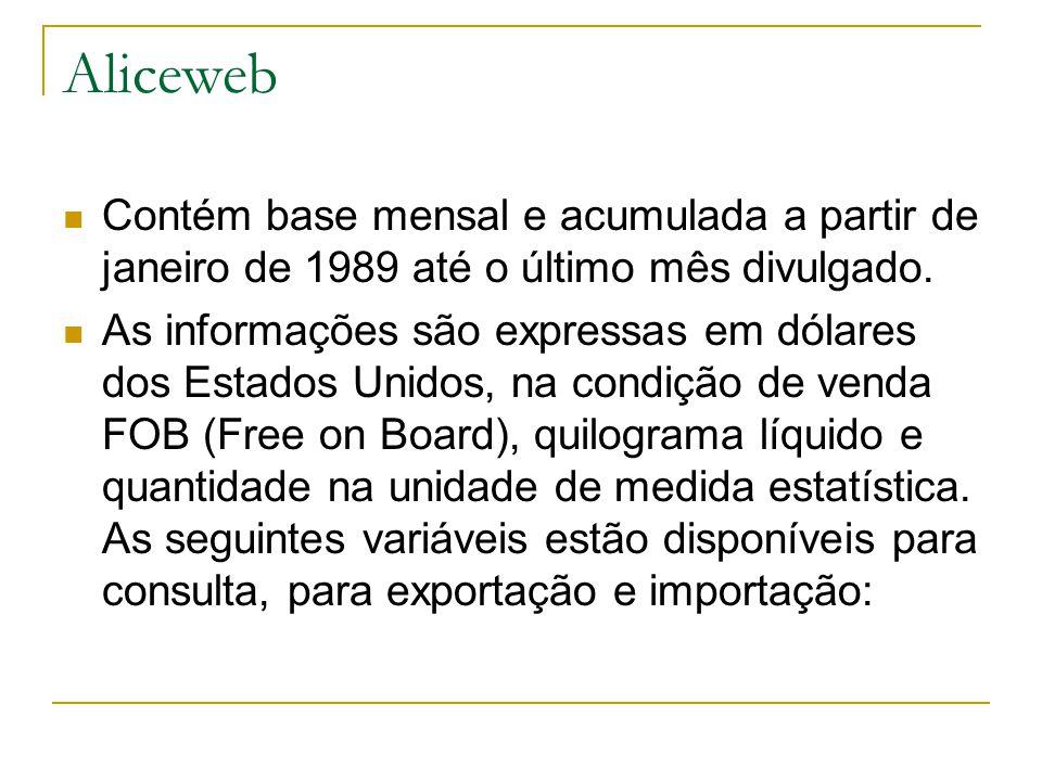 Aliceweb Contém base mensal e acumulada a partir de janeiro de 1989 até o último mês divulgado.