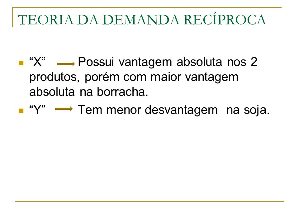 TEORIA DA DEMANDA RECÍPROCA