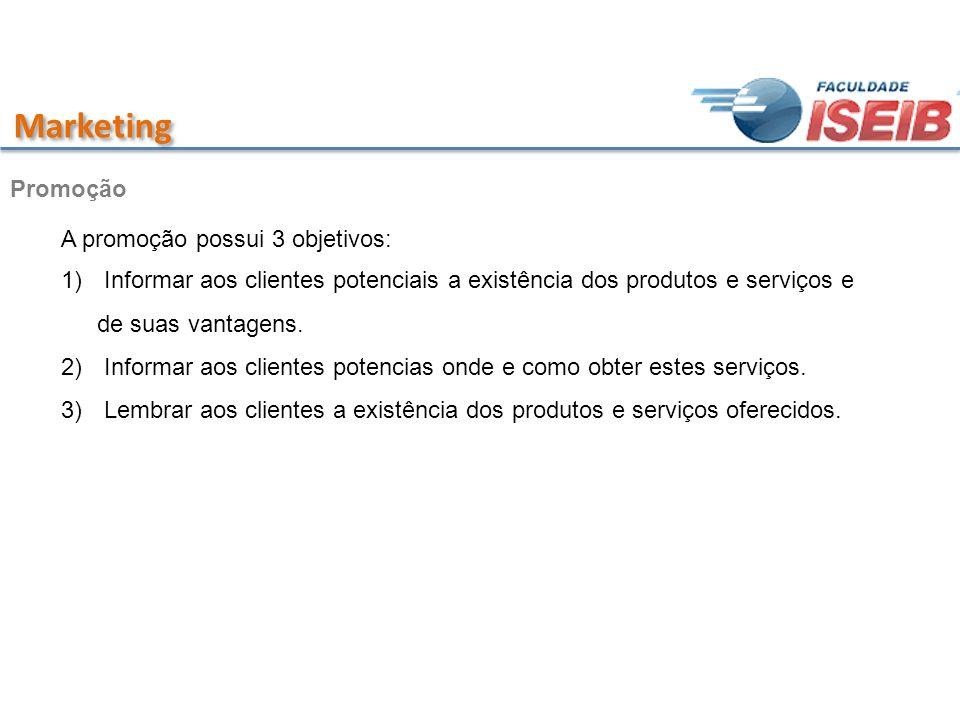Marketing Promoção A promoção possui 3 objetivos: