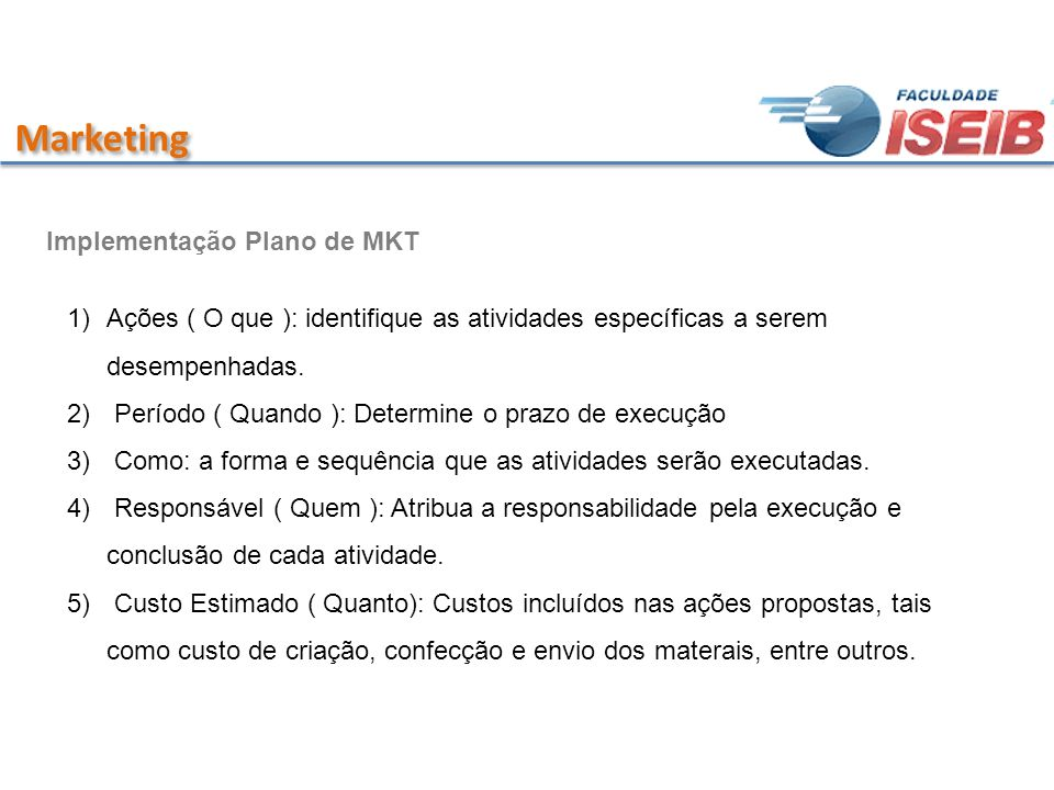 Marketing Implementação Plano de MKT
