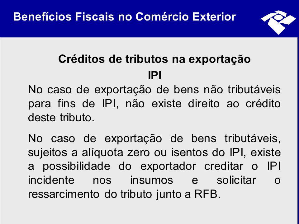 Créditos de tributos na exportação