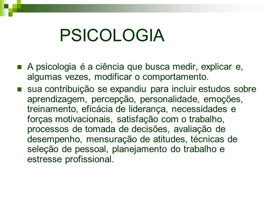 PSICOLOGIA A psicologia é a ciência que busca medir, explicar e, algumas vezes, modificar o comportamento.