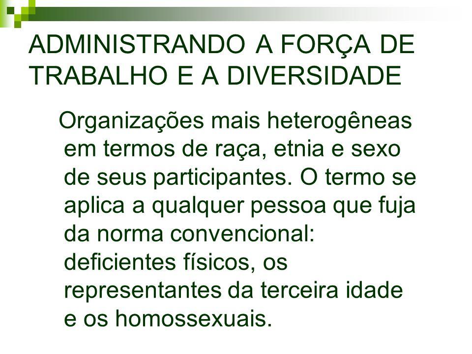 ADMINISTRANDO A FORÇA DE TRABALHO E A DIVERSIDADE