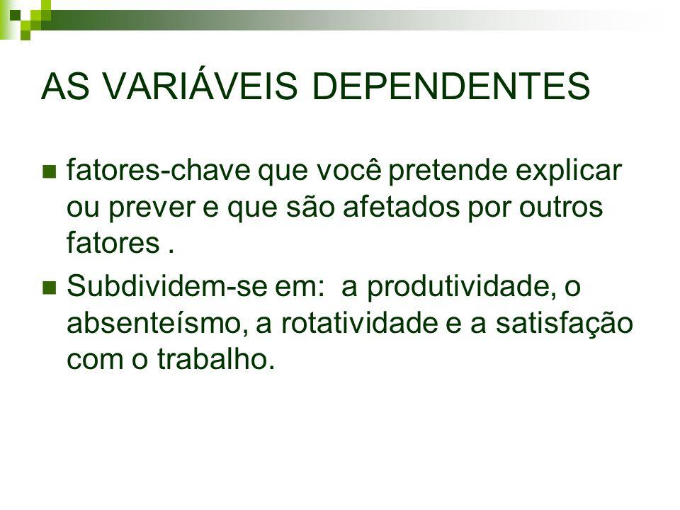 AS VARIÁVEIS DEPENDENTES