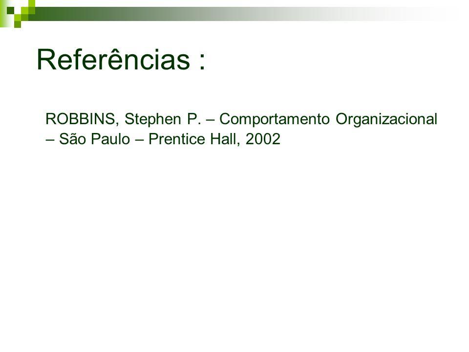 Referências : ROBBINS, Stephen P. – Comportamento Organizacional – São Paulo – Prentice Hall, 2002