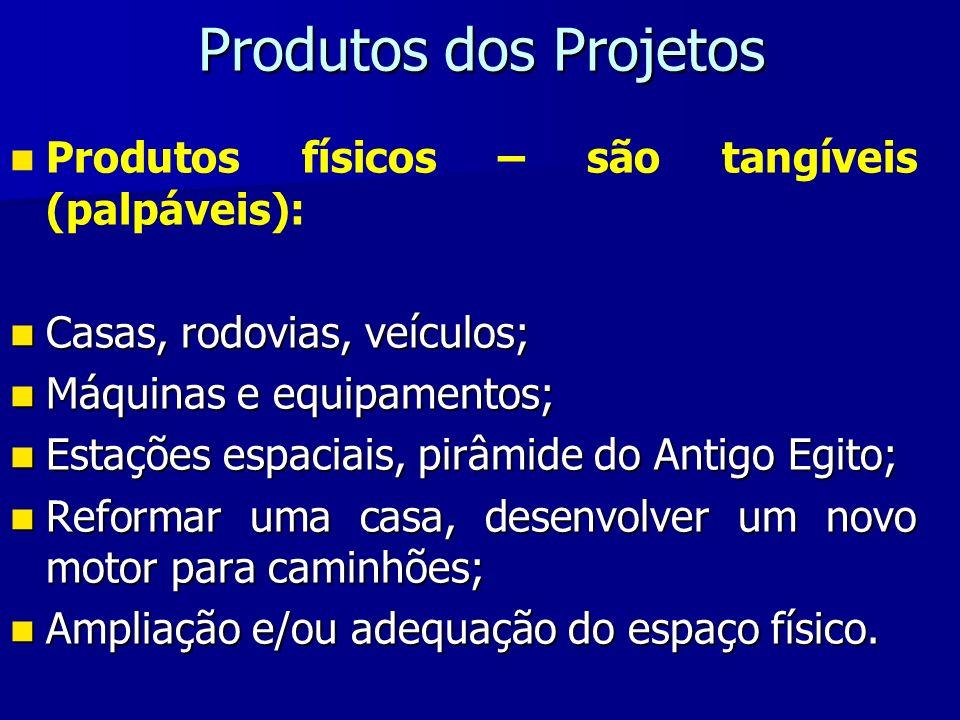 Produtos dos Projetos Produtos físicos – são tangíveis (palpáveis):