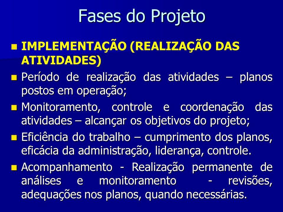 Fases do Projeto IMPLEMENTAÇÃO (REALIZAÇÃO DAS ATIVIDADES)