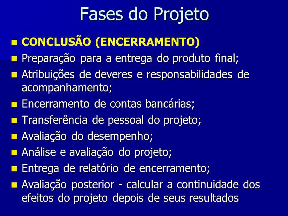 Fases do Projeto CONCLUSÃO (ENCERRAMENTO)