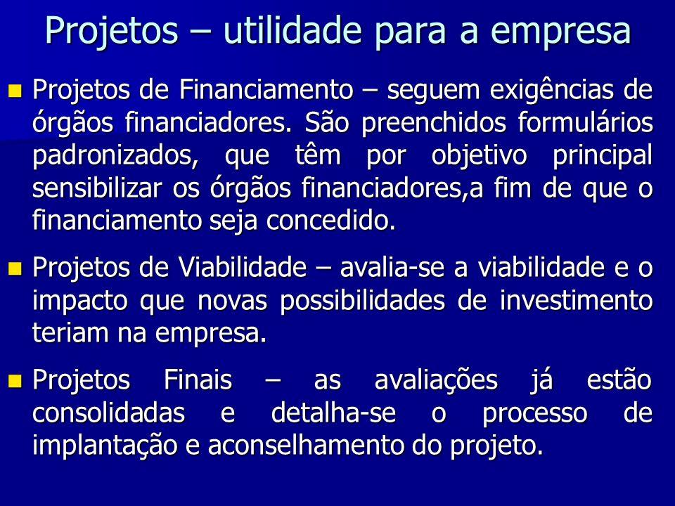 Projetos – utilidade para a empresa