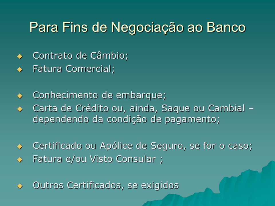 Para Fins de Negociação ao Banco