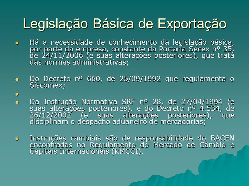 Legislação Básica de Exportação