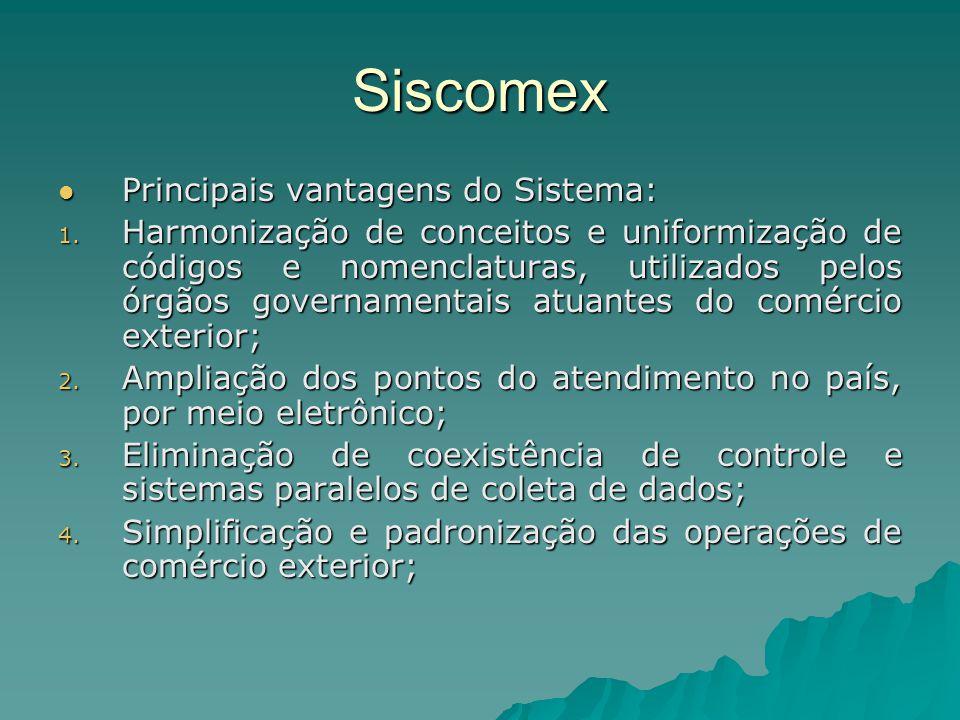 Siscomex Principais vantagens do Sistema: