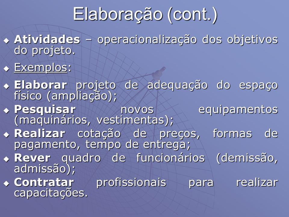 Elaboração (cont.) Atividades – operacionalização dos objetivos do projeto. Exemplos: Elaborar projeto de adequação do espaço físico (ampliação);