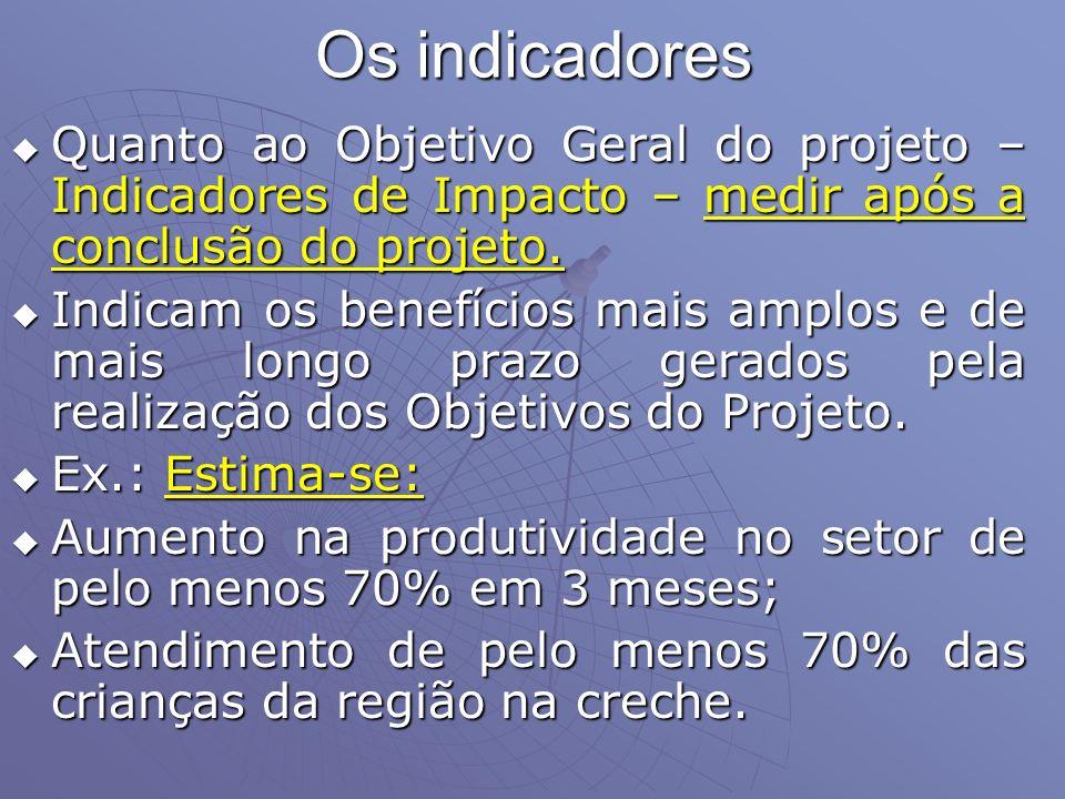 Os indicadores Quanto ao Objetivo Geral do projeto – Indicadores de Impacto – medir após a conclusão do projeto.