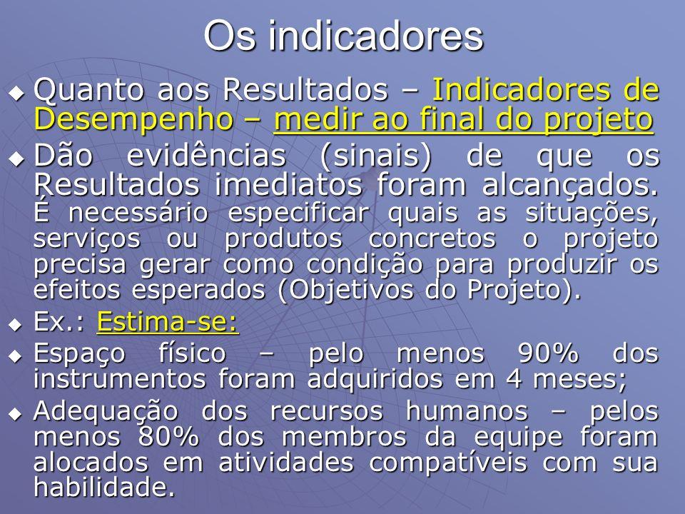 Os indicadores Quanto aos Resultados – Indicadores de Desempenho – medir ao final do projeto.