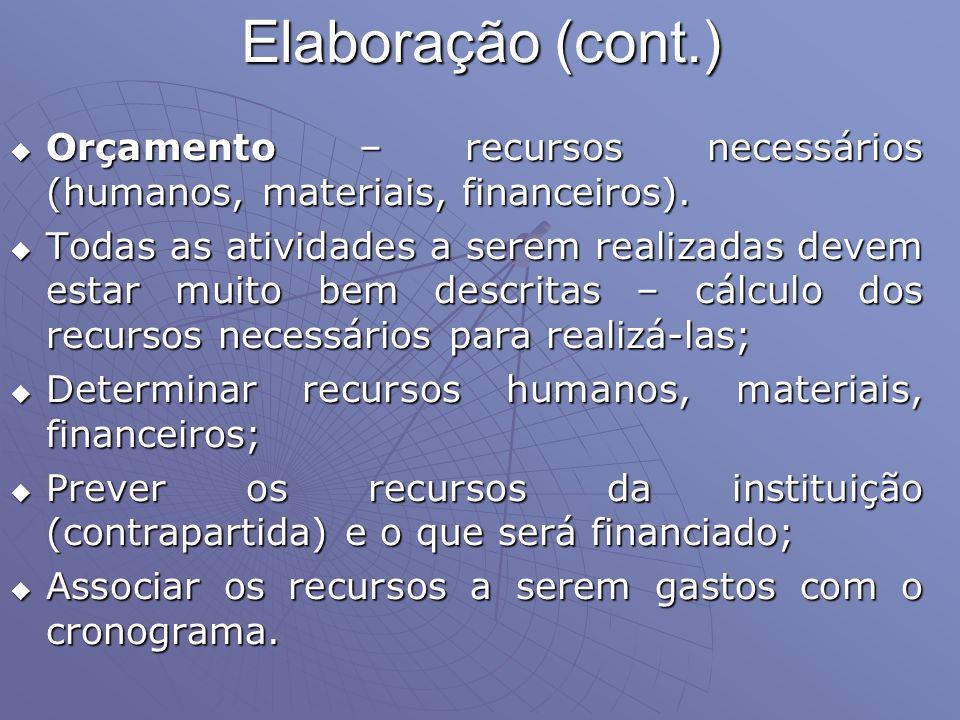 Elaboração (cont.) Orçamento – recursos necessários (humanos, materiais, financeiros).