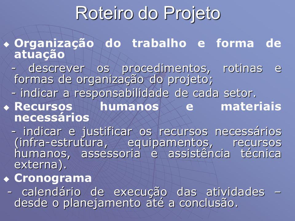 Roteiro do Projeto Organização do trabalho e forma de atuação