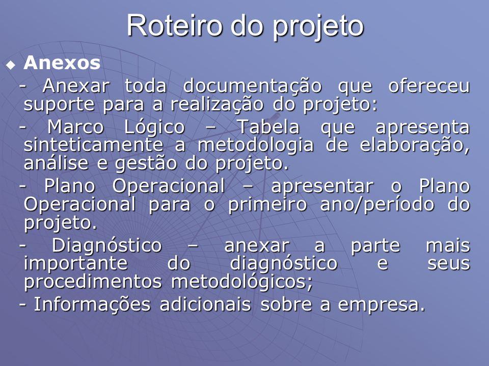 Roteiro do projeto Anexos