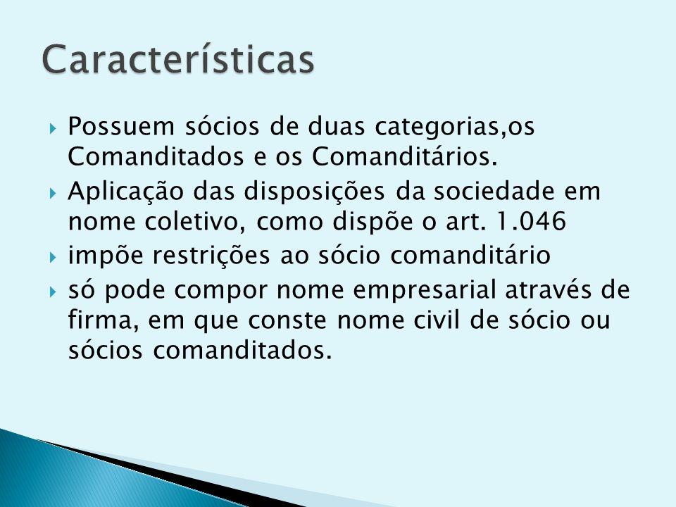Características Possuem sócios de duas categorias,os Comanditados e os Comanditários.