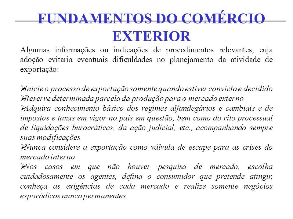 FUNDAMENTOS DO COMÉRCIO EXTERIOR