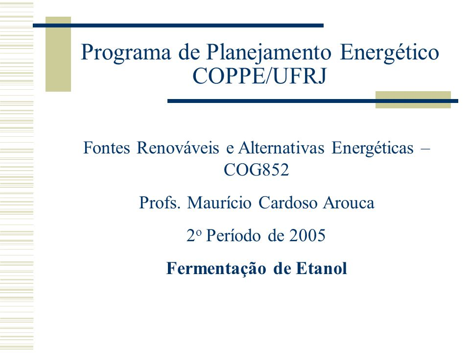 Programa de Planejamento Energético COPPE/UFRJ
