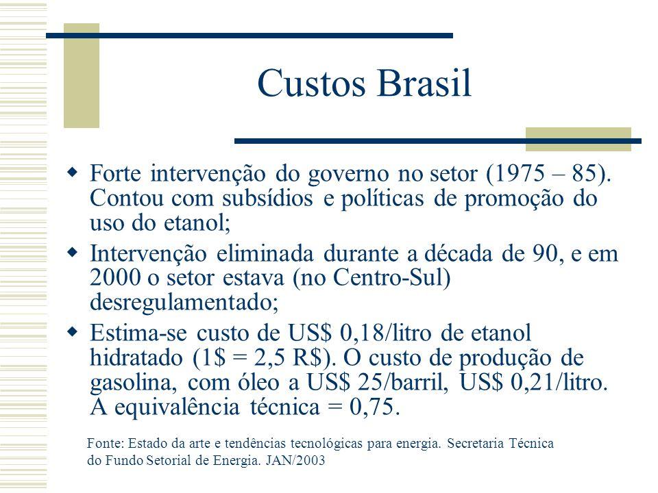 Custos Brasil Forte intervenção do governo no setor (1975 – 85). Contou com subsídios e políticas de promoção do uso do etanol;