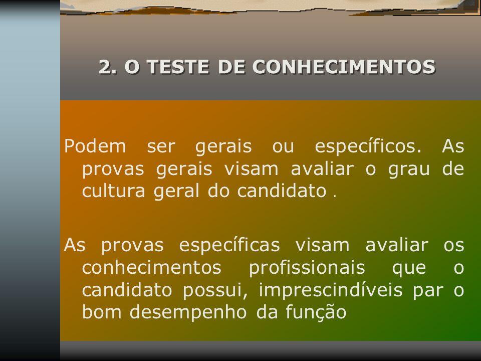 2. O TESTE DE CONHECIMENTOS