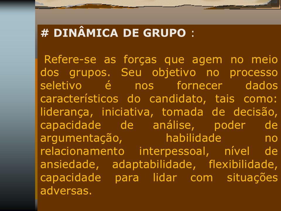 # DINÂMICA DE GRUPO :