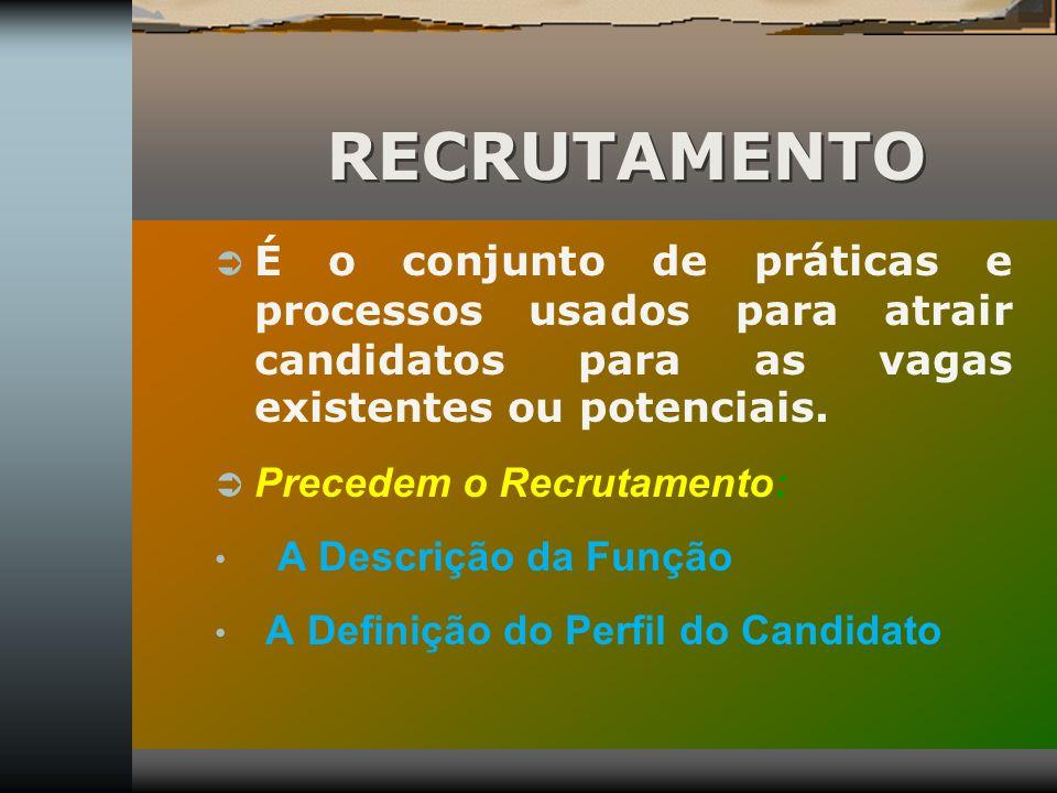 RECRUTAMENTO É o conjunto de práticas e processos usados para atrair candidatos para as vagas existentes ou potenciais.