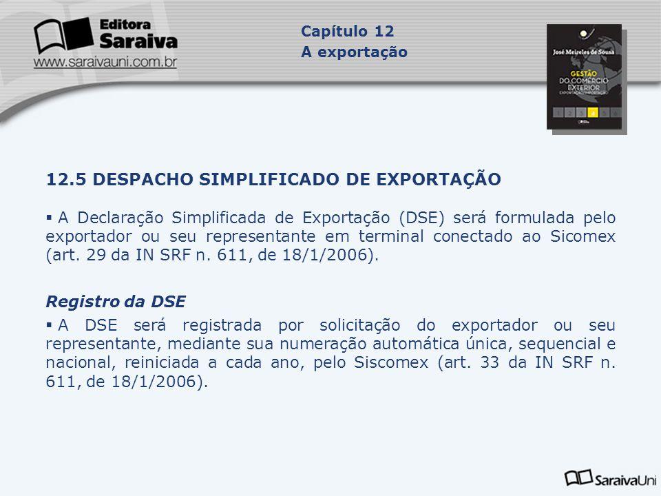 12.5 DESPACHO SIMPLIFICADO DE EXPORTAÇÃO