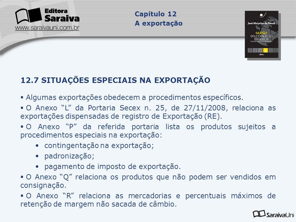 12.7 SITUAÇÕES ESPECIAIS NA EXPORTAÇÃO