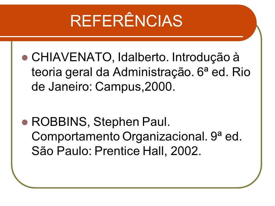 REFERÊNCIAS CHIAVENATO, Idalberto. Introdução à teoria geral da Administração. 6ª ed. Rio de Janeiro: Campus,2000.