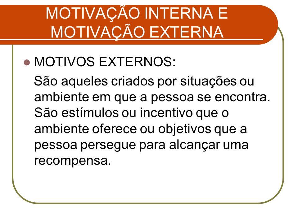 MOTIVAÇÃO INTERNA E MOTIVAÇÃO EXTERNA