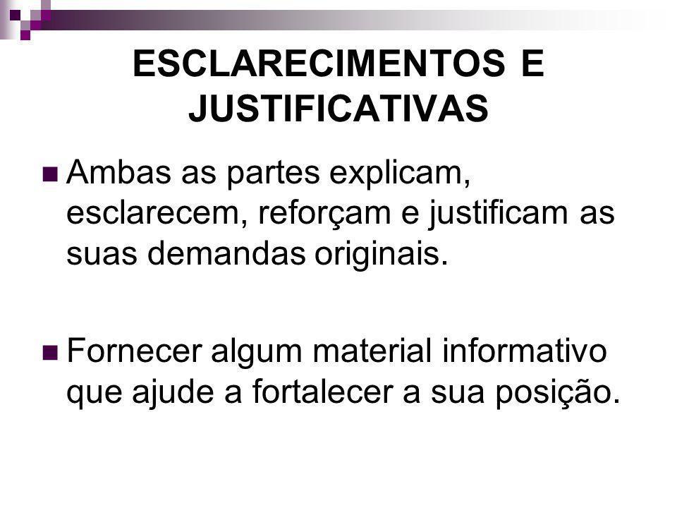 ESCLARECIMENTOS E JUSTIFICATIVAS