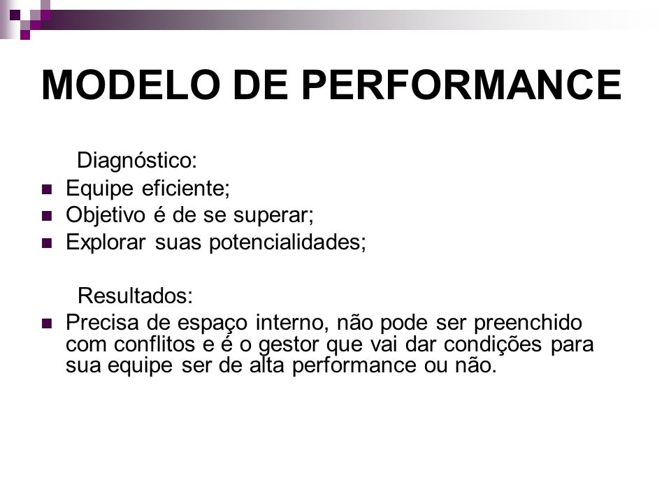 MODELO DE PERFORMANCE Diagnóstico: Equipe eficiente;