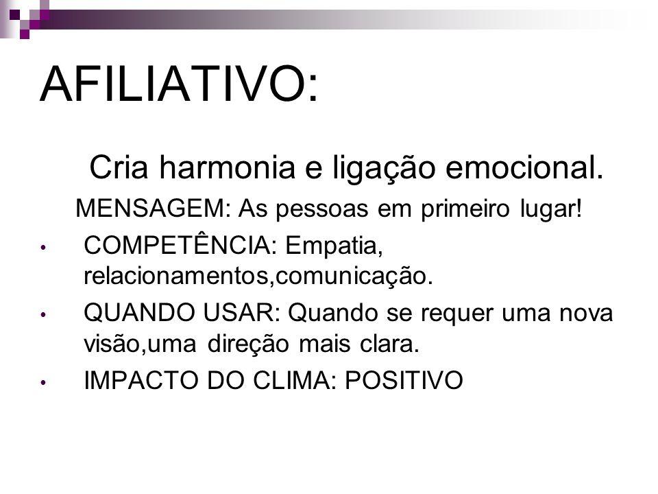 AFILIATIVO: Cria harmonia e ligação emocional.