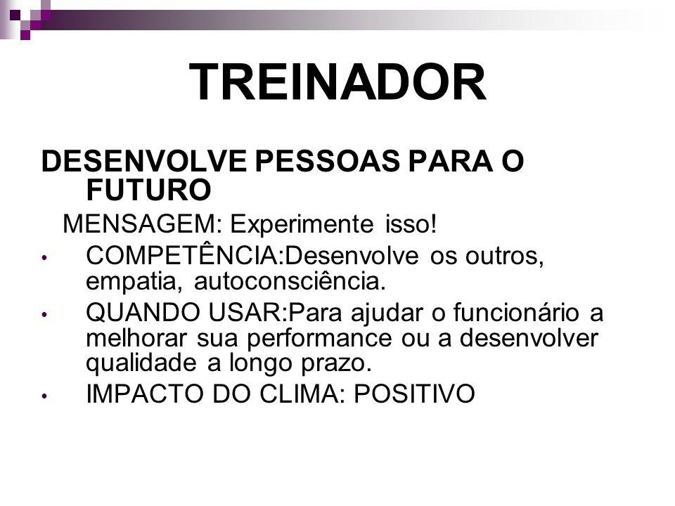 TREINADOR DESENVOLVE PESSOAS PARA O FUTURO MENSAGEM: Experimente isso!
