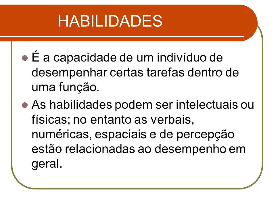 HABILIDADES É a capacidade de um indivíduo de desempenhar certas tarefas dentro de uma função.