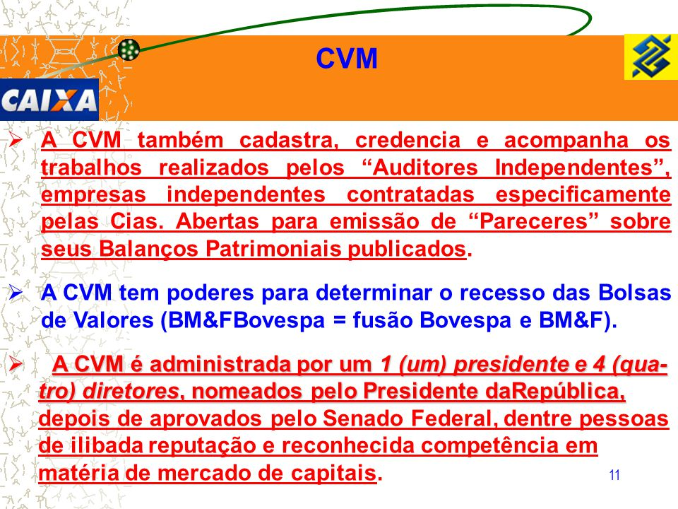 A CVM é administrada por um 1 (um) presidente e 4 (qua-