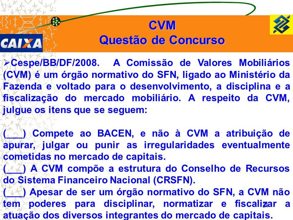 CVM Questão de Concurso