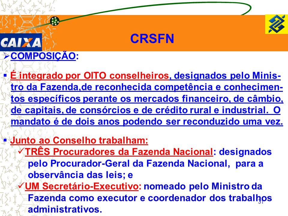 CRSFN COMPOSIÇÃO: É integrado por OITO conselheiros, designados pelo Minis- tro da Fazenda,de reconhecida competência e conhecimen-