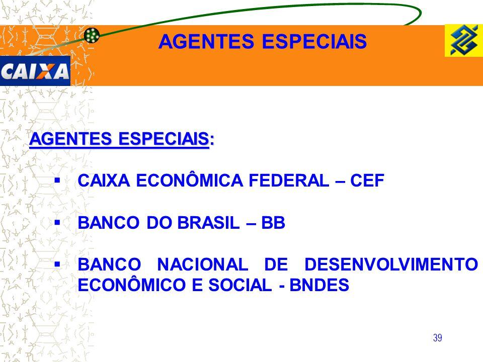 AGENTES ESPECIAIS AGENTES ESPECIAIS: CAIXA ECONÔMICA FEDERAL – CEF