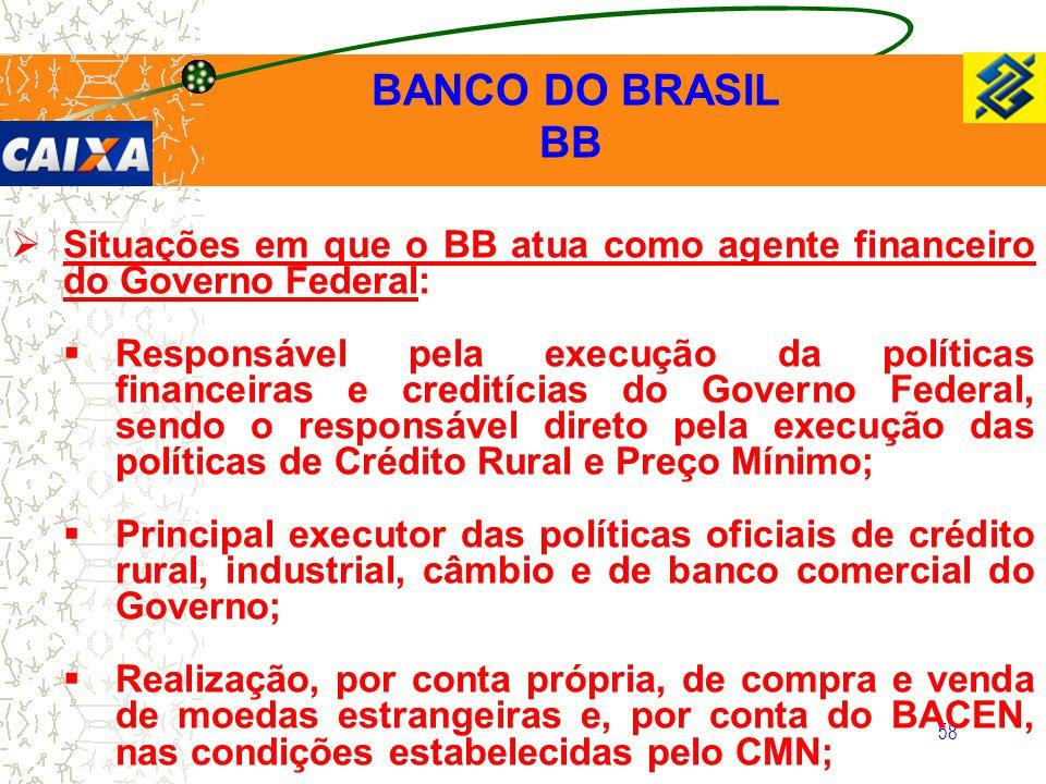 BANCO DO BRASIL BB. Situações em que o BB atua como agente financeiro do Governo Federal: