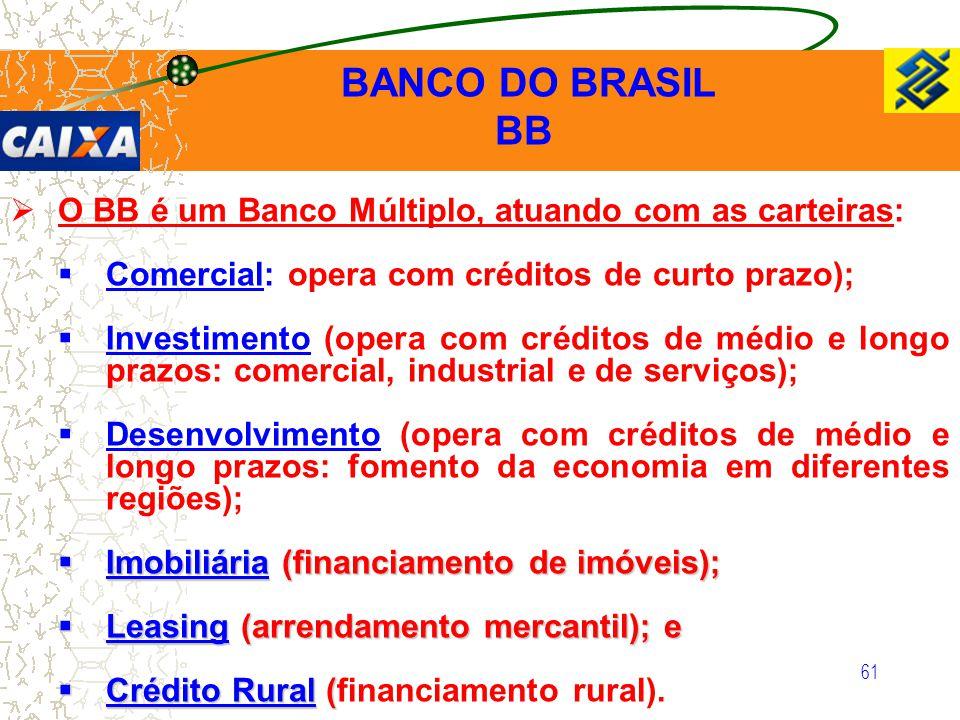 BB O BB é um Banco Múltiplo, atuando com as carteiras: