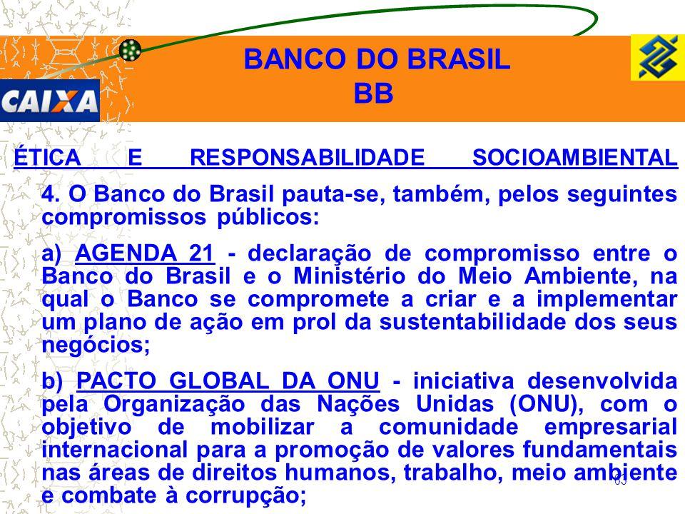 BANCO DO BRASIL BB. ÉTICA E RESPONSABILIDADE SOCIOAMBIENTAL 4. O Banco do Brasil pauta-se, também, pelos seguintes compromissos públicos: