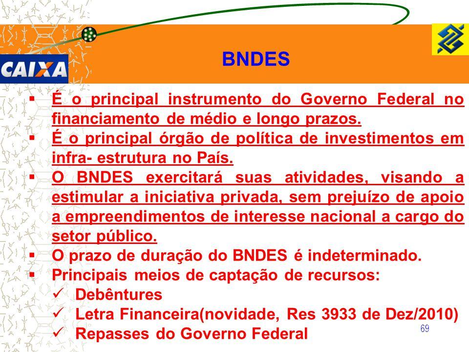 BNDES É o principal instrumento do Governo Federal no financiamento de médio e longo prazos.