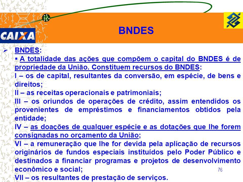 BNDES BNDES: A totalidade das ações que compõem o capital do BNDES é de propriedade da União. Constituem recursos do BNDES: