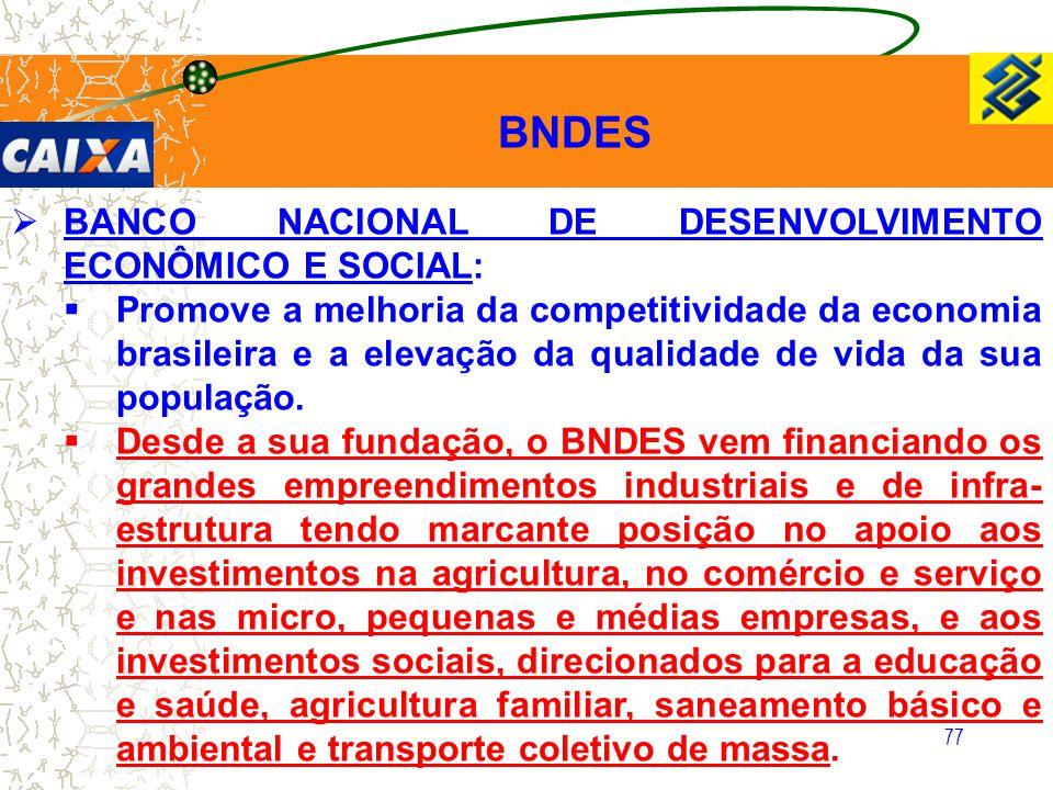 BNDES BANCO NACIONAL DE DESENVOLVIMENTO ECONÔMICO E SOCIAL: