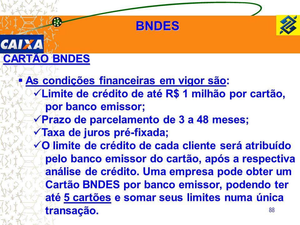 BNDES CARTÃO BNDES As condições financeiras em vigor são: