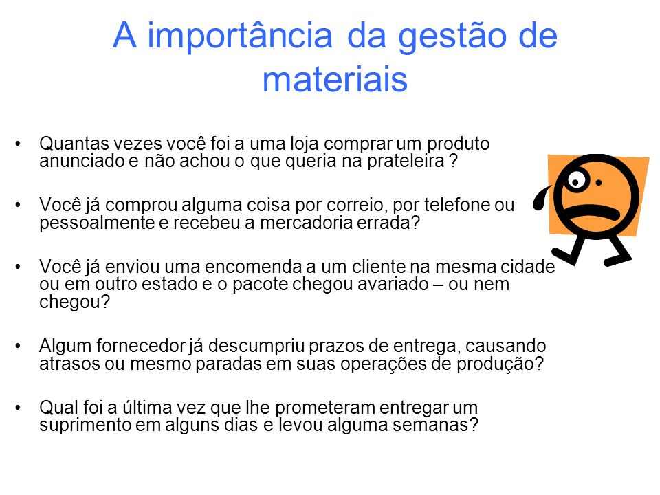 A importância da gestão de materiais